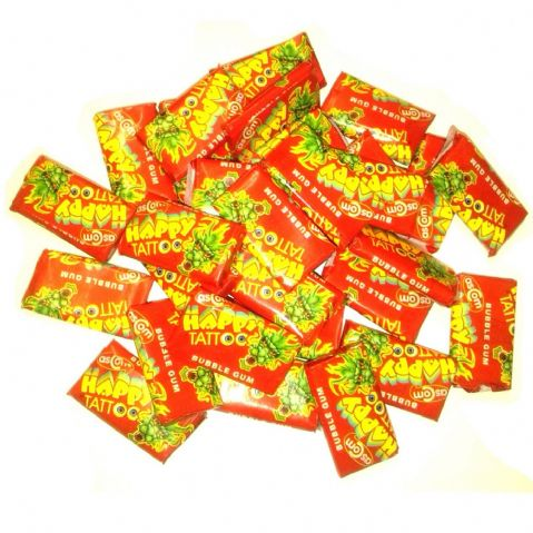 30 x Happy Tattoo Bubblegum - Novelty Candy Sweets Party Bag Fillers